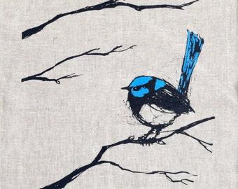 Tea Towel, Superb Fairy Wren Screen Printed Tea Towel in Linen, Australian Native Bird, Blue Wren