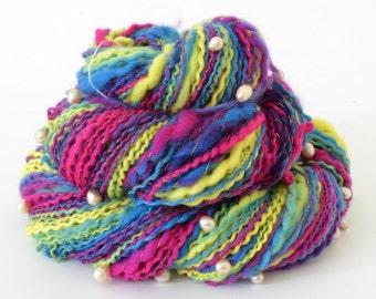 Handspun Yarn - Bright Merino Yarn - Freshwater Pearls - 1.75oz, 140yd, 14WPI