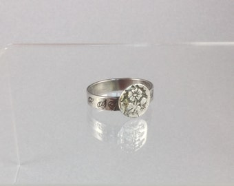 Sterling Silver Ring with Flower Medallion, Size 8