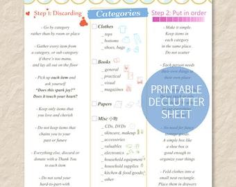 Printable KonMari Method Sheet - Declutter - Tidying - Organization - PDF - Instant Download