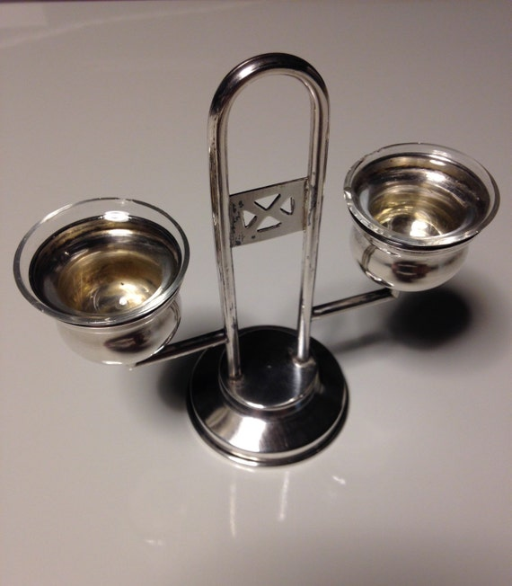 1940 Poland 800 Silver Salt Stand with Hand Blown Glass Inserts - Salt Cellar