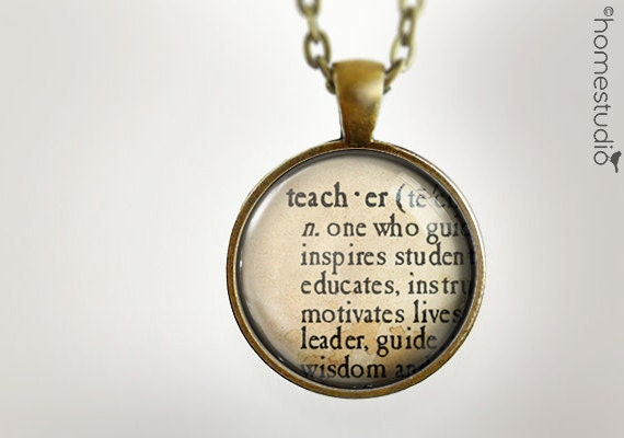 Teacher Definition : Glass Dome Necklace gift present by HomeStudio. Round art photo pendant jewelry. Available as Key Ring Keychain