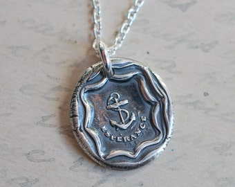 anchor wax seal necklace … esperance - hope anchor pendant - fine silver French nautical wax seal jewelry