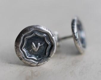 heart wax seal stud earrings … love, charity, sincerity - heart post earrings - sealed with love Victorian era wax seal jewelry