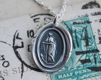 woman leaning on large anchor wax seal necklace … hope, salvation, stability - fine silver Georgian wax seal jewelry
