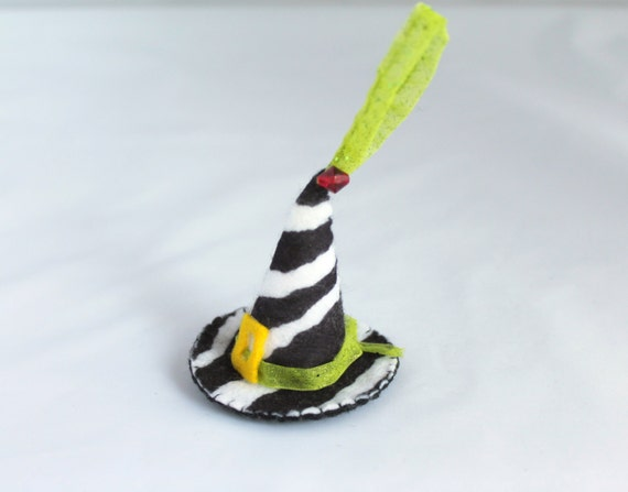 Felt Halloween Ornaments - Animal Print  Witch Hat with purple sequins and beads Halloween Decoration