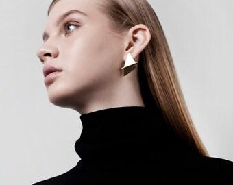 SALE 50% OFF Ellen Earrings, Gold Post Earrings, Geometric Gold Earrings, Minimalist Gold Earrings, Gold Statement Earrings