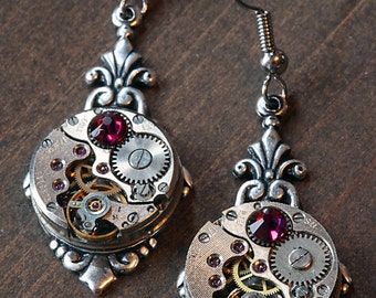 Steampunk Earrings - Ruby red swarovski crystal