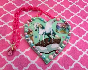 Mint Unicorn Heart Necklace Large