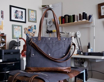 Tote Bag, Canvas Leather Tote, Laptop Briefcase, Archive Bag, Gray Canvas, Brown Leather, Back to School, Jenny N Design