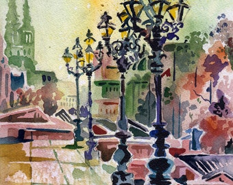 Vienna Lamp Posts - Watercolor Painting of Vienna Lamp Posts - Original Art of Austria Painted by Jen Tracy