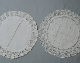 2 Vintage Doilies 1940s Linen and Crochet, Round 11 & 12 inches, Vintage Home 1940s, Handmade