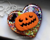 Frightfully Scary Pumpkin necklace - Halloween Jack o'Lantern Pendant Necklace, Halloween Party Jewelry, Halloween Pendant Black & Orange
