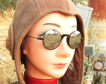 Retro Aviator Hat in Distressed Brown Nubuck Leather
