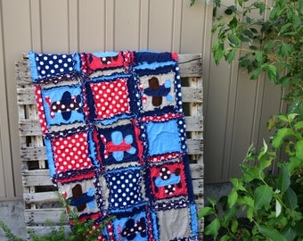 Airplane Quilt Baby Boy Bedding - Red / Blue / Navy - Aviation Bedding Airplane Decor - Crib Baby Bedding Presents for Boys - Airplane Crib