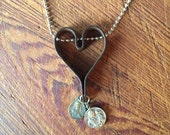 Charms on Chain, Vintage Iron Metal Primitive Heart on Base Metal Ball Chain with Key, Reclaimed, Upcycled Gifts under 25, Gifts for Her