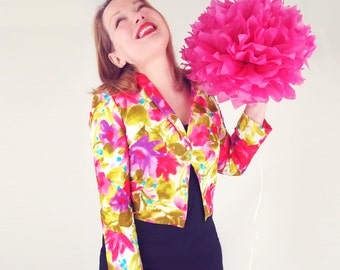 60s Bright Pink and Green Flowered Jacket S