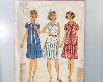 1980s Vintage Sewing Pattern Simplicity 6156 Misses Drop Waist Pleated Skirt Zip Front Dress and Jacket Plus Half Size 14 1/2 Bust 37 UNCUT
