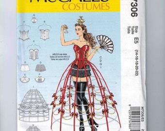 Misses Sewing Pattern McCalls M7306 7306 Misses Costumes Cosplay Hoop Skirt Pettipants Corset Size 6 8 10 12 14 16 18 20 22 UNCUT