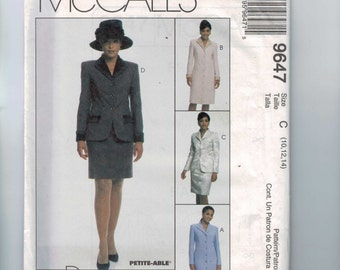 1990s Sewing Pattern McCalls 9647 Misses Button Front Suit Dress Coat Dress Mother of the Groom Size 10 12 14 Bust 32 34 36 UNCUT