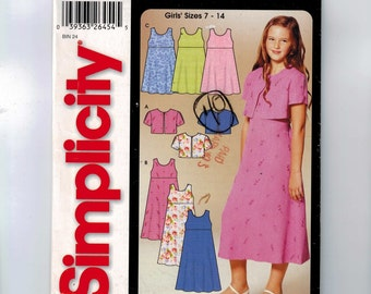 Girls Sewing Pattern Simplicity 5650 Girls High Waisted Dress and Bolero Cardigan Size 7 8 10 12 14 Breast 26 27 28 30 32 UNCUT