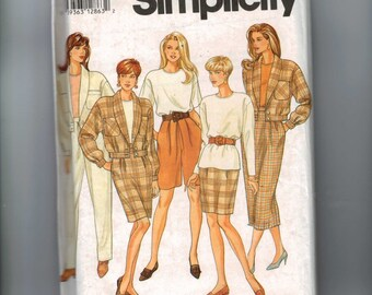 Misses Sewing Pattern Simplicity 7950 Misses Pants SHorts Skirt Top Jacket Separates Size 6 8 10 Bust 30 31 32 33 UNCUT
