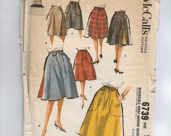 1960s Vintage Sewing Pattern McCalls 6739 Misses Reversible Wrap Around Skirt Size Small 10 12 Waist 24 25 1960s  99