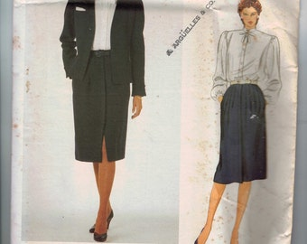 1980s Vintage Sewing Pattern Vogue 2931 Misses and Petite Valentino Jacket Skirt Blouse Secretary Suit Size 10 or 14 80s UNCUT
