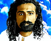Meher Baba Poster Instant Digital Download Print Modern Shrine Wall Decor All Sizes DIY Dot Style Blue Sky White Clouds Avatar Young Meyer