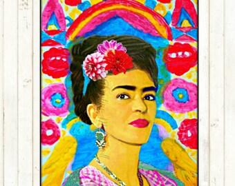 Frida Kahlo Retro Art Print Boho Instant Digital Download Small t Poster Vintage Modern Home Dec Aqua Blue Red Black White Portrait Painting