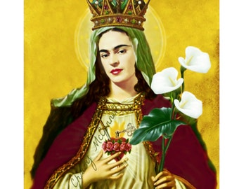Frida Kahlo Poster Retro Art Print Boho Instant Digital Download Key Mary All Sizes Vintage Saint Frida Red Gold Maroon Green Portrait