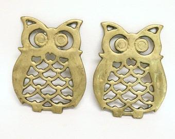 Pair of Vintage Brass Owl Trivets/Coasters