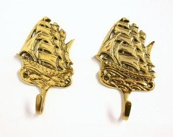 Pair of Brass Ship Wall Hooks