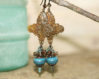 Fleur-de-lis, Swarovski and Blue Lampwork Glass Earrings, Handcrafted Rustic Art Glass Jewelry, Dark Patina Brass, French Stylized Lily