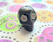 Gigantic Black Howlite Skull Bead or Pendant  with Crazy Flower Eyes
