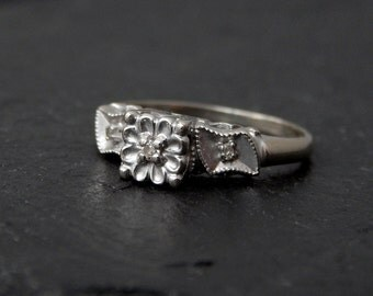 Vintage 1940s Engagement Ring: 14k white gold, diamond - size 6.5 floral motif, square illusion head, flowers and leaves, antique, bridal