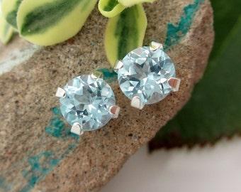Natural Blue Topaz Stud Earrings, Sky BLue Earrings in Gold, Silver, or Platinum, 6mm