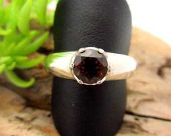 Garnet Ring in Sterling Silver, Dark Coffee Brown color Gemstone - Free Gift Wrapping
