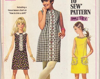 """1960's Vintage Sewing Pattern Ladies' A-Line Dress Simplicity 8011 34"""" Bust - Free Pattern Grading E-book Included"""