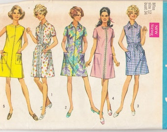 "1960's Vintage Sewing Pattern Ladies' A-Line Dress Simplicity 8285 34"" Bust - Free Pattern Grading E-book Included"