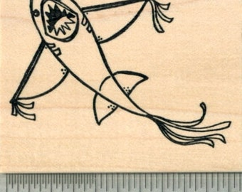 Shark Kite Rubber Stamp K30213 Wood Mounted