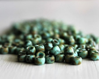 20g Matte Turquoise Picasso  Size 6 TOHO Seed Beads