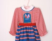 Vintage toddler girls dress Health tex red white and blue 2t 18 months