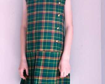 Vintage girls dress green and yellow plaid size 10 by Sears