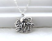Octopus Necklace • Best Friend Necklace • Ocean Lover • Octopus Charm • Sterling Silver • Steampunk •Nautical Jewelry • Cephalopod Charm