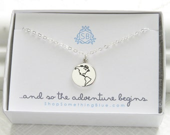 Graduation Gift • World Necklace • Earth Necklace • Journey Necklace • Globe Charm • Bon Voyage • Encouragement Gift • The Whole World