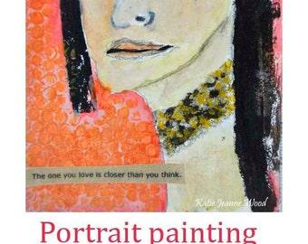 Acrylic Woman Portrait Painting. Choker Necklace. Orange Bedroom Wall Decor