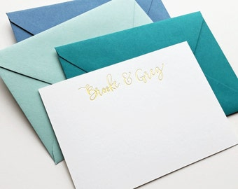 Custom Gold or Silver Foil Stamped Note Cards, Calligraphy Script Font - Wedding, Personal Stationery Gift - Brooke & Greg Font