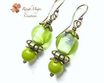 Spring Green Earrings, Light Olive Lampwork Glass Beaded Drops, Bronze Antique Brass, Peridot Color Dangles, August Birthstone Jewelry  E344