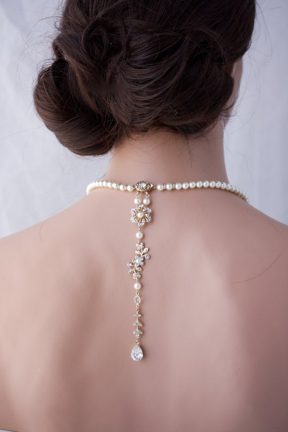 Floral Bridal Jewelry Wedding Jewelry Gold Backdrop Necklace Pearl Back Drop Bridal Necklace Crystal Flower TWIST